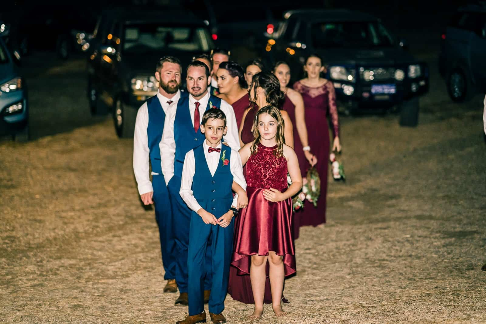 bridal party about to enter reception