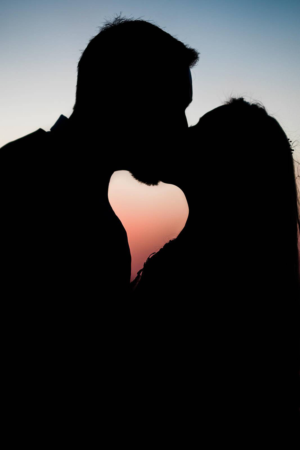 Bride & Groom silhouette with heart shape