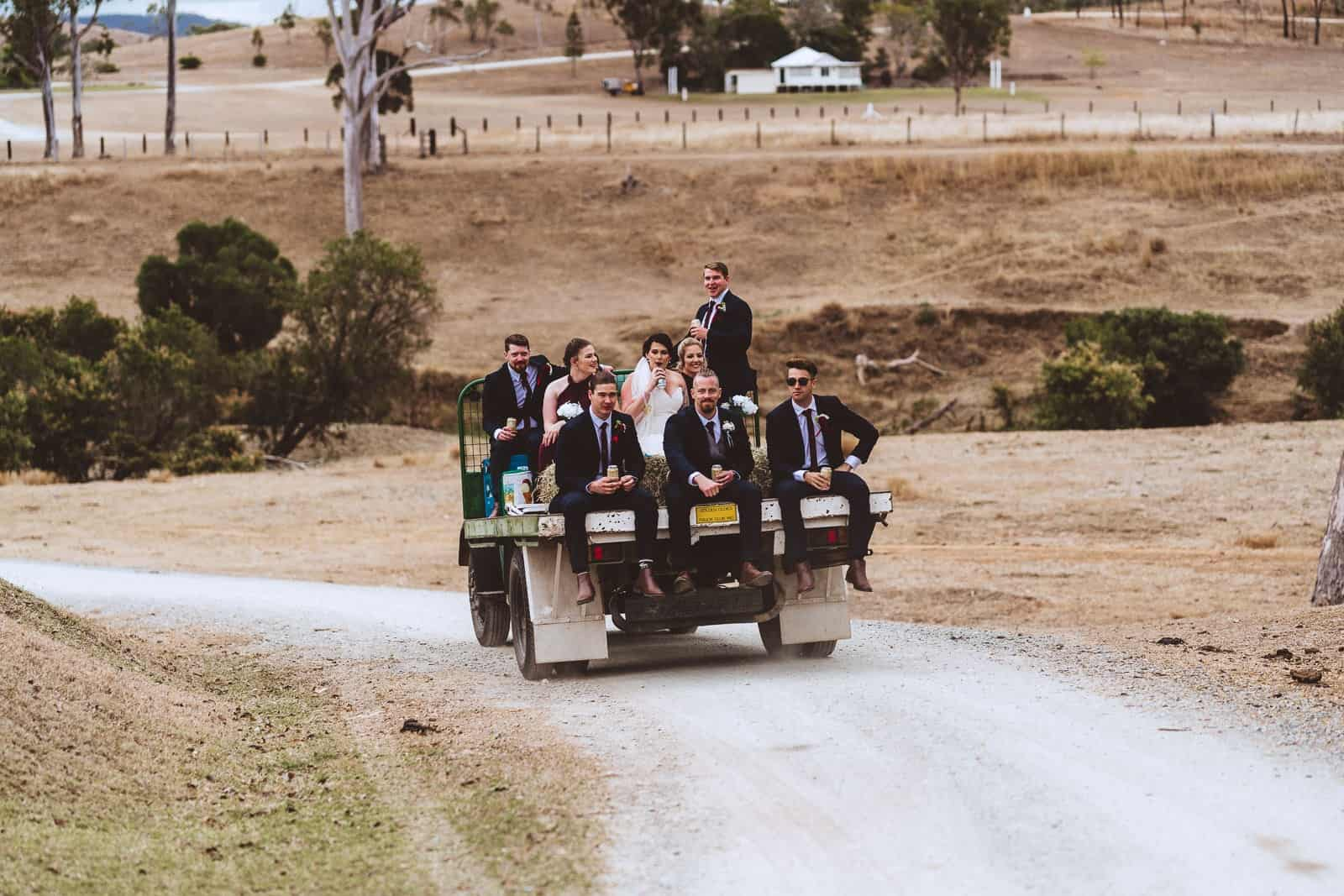 Bridal party on back of Bedford truck